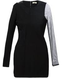 Mugler Sheer Panel Fitted Dress - Lyst