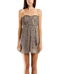 Twelfth Street Cynthia Vincent Cynthia Vincent Strapless Party Dress In Leopard brown - Lyst