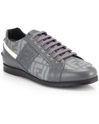 Fendi Zucca Softy Lace-Up Leather Sneakers - Lyst