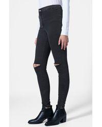 Topshop 'Joni' Ripped Skinny Jeans - Lyst