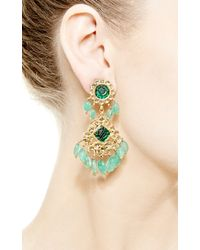 Kirat Young - Emerald Indian Earrings in Gold - Lyst