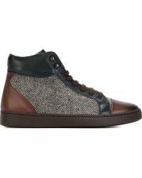 Kiton - Herringbone Paneled High-Top Sneakers - Lyst