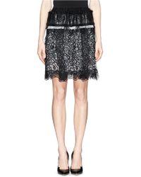 Lanvin Sequin Pailette Elastic Lace Patchwork Skirt - Lyst