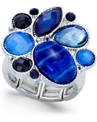Style & Co. - Silver-tone Blue Stone Stretch Ring - Lyst