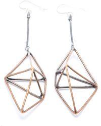 Mikinora - Framed Geo Earrings Bronze - Lyst