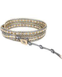 Nakamol - Chain-Trimmed Beaded Leather Bracelet - Lyst