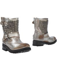 Ash Silver Ankle Boots - Lyst