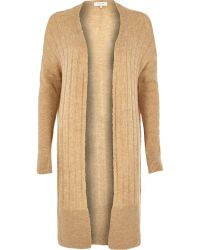 River Island Brown Long Ribbed Cardigan - Lyst