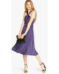 Halston Jersey Dress With Tie purple - Lyst