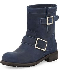 Jimmy Choo Youth Short Suede Biker Boot Blue Gray - Lyst