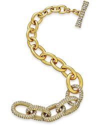 Kate Spade New York Gold-tone Crystal Link Toggle Bracelet - Lyst