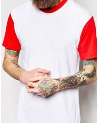 American Apparel T-Shirt With Contrast Sleeves red - Lyst