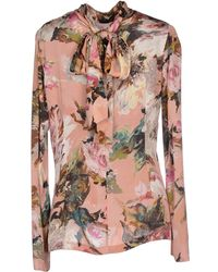 Dolce & Gabbana Printed Stretchsilk Blouse pink - Lyst