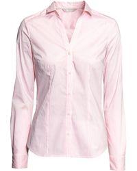 H&M Pink Stretch Shirt - Lyst