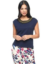 Juicy Couture   blue Cap Sleeve Chain Embroidered Tee   Lyst