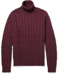 Gucci Cable Knit Rollneck Sweater - Lyst