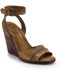 Frye Patricia Leather Wedge Sandals - Lyst