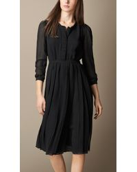 Burberry Ruched Detail Silk Dress - Lyst