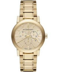 Burberry Ladies Gold-Tone Stainless Steel Chronograph Watch - Lyst