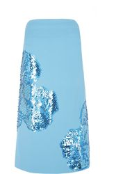 Richard Nicoll Powder Blue Embroidered Midi Skirt - Lyst