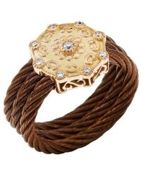 Charriol Women'S Celtique Rose 18K Gold And Bronze-Tone Diamond .13Tcw Ring brown - Lyst