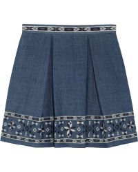 Sea Embroidered Cotton-chambray Mini Skirt - Lyst