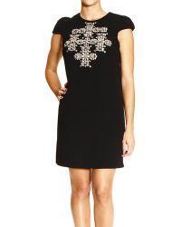 Saint Laurent Dress Short Sleeves Round Neck with Studs Cross - Lyst