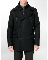 Calvin Klein White Label Zip Detail Wool Blend Peacoat - Lyst