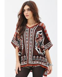 Forever 21 Southwestern-Patterned Poncho - Lyst