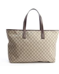Gucci Beige and Cocoa Gg Plus Coated Canvas Tote - Lyst