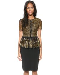 Marchesa Voyage Lace Ruffle Top  Blackgold - Lyst
