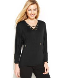 Calvin Klein Lace-up Dolman Top - Lyst