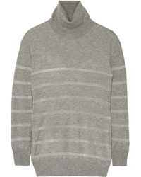 Band of Outsiders - Panelled Silk And Cashmere-blend Jumper - Lyst