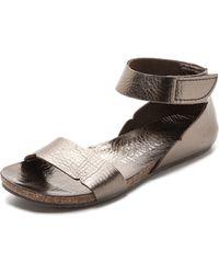 Pedro Garcia Jennifer Ankle Flat Sandals - Pewter Cervo Lame - Lyst