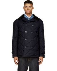 Junya Watanabe Navy Quilted Wool Double_breasted Coat - Lyst