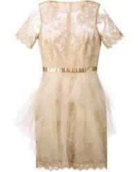 Notte By Marchesa Lace Satin Belt Dress - Lyst