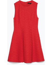 Zara Jacquard Dress With Pleats - Lyst