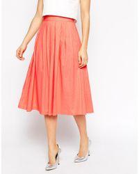 Asos Pleated Midi Linen Skirt - Lyst