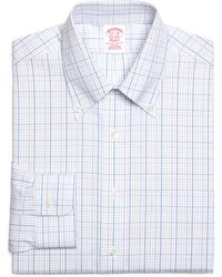 Brooks Brothers Noniron Traditional Fit Triple Overcheck Dress Shirt - Lyst