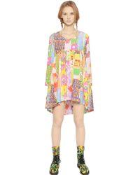 Jeremy Scott Patchwork Printed Silk Blend Voile Dress - Lyst