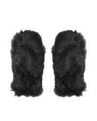 Topshop Faux Fur Mittens - Lyst