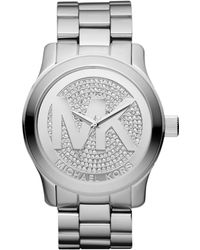 Michael Kors Runway Glitz Stainless Steel Watch - Lyst