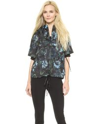 Vera Wang Collection - Watercolor Rose Windbreaker - Black - Lyst