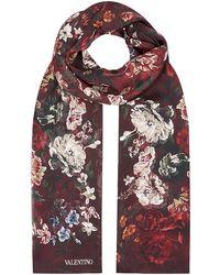 Valentino Rose Print Silk Scarf - Lyst