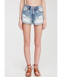 Forever 21 Daisy-Embroidered Denim Shorts - Lyst