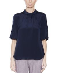 L'Agence Rolled Neck Blouse - Lyst