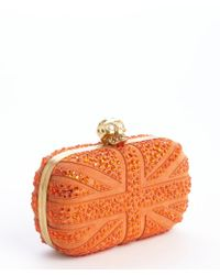 Alexander McQueen Bright Orange Suede Britannia Skull Clutch - Lyst