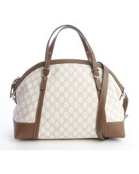 Gucci White and Beige Canvas Ouble Gg Shoulder Bag - Lyst