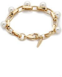 Joomi Lim - Dot And Dash Single Row Pearl Bracelet - Gold/Cream - Lyst