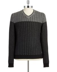 Calvin Klein Textured Knit V-neck - Lyst